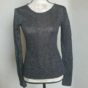 Express black with silver long sleeve sheer shirt